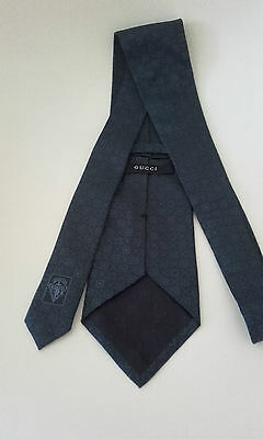 Gucci: - 100% Silk Neck Tie - Made In Italy - Dark Blue - New And Unused.