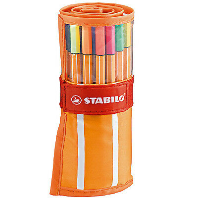 STABILO Fineliner Point 88 Ballpoint Pen Rollerset of 30 Mixed Colours