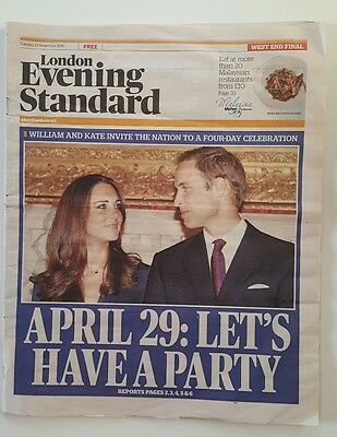 "PRINCE WILLIAM AND KATE ""Let's have a Party"" Evening Standard 23 November 2010"