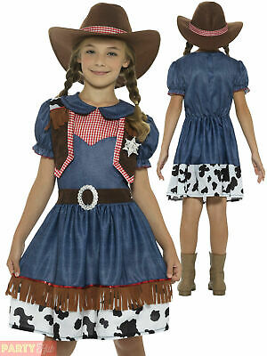 Girls Texan Cowgirl Costume Wild Western Jessie Fancy Dress Book Week Outfit