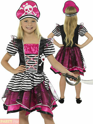 Girls Perfect Pirate Costume Childs Pink Buccaneer Fancy Dress Book Week Outfit
