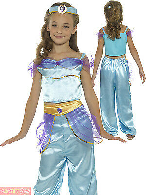 Girls Arabian Princess Costume Childs Fairytale Jasmine Fancy Dress Book Outfit