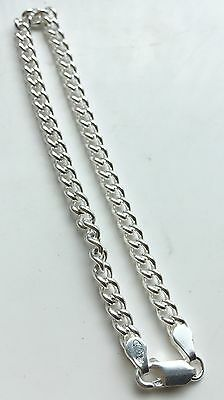 """Sterling Silver 925 New 7.25"""" Charm Curb Chain Bracelet 9.1g Not Scrap"""