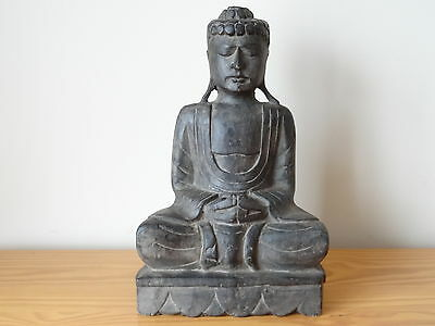c.19th - Antique Vintage Chinese Wooden Black Buddha Statue Figure Figurine