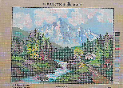 DMC Tapestry canvas Collection D'Art 10321 Mountain and River Landscape