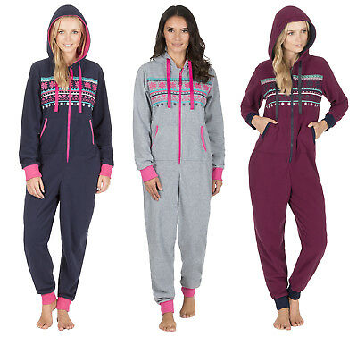 Womens Hooded Fairisle Winter All In One Pyjamas Jumpsuit Ladies Warm Pjs Size
