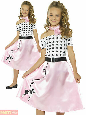 Girls 50s Poodle Girl Costume Childs Rock and Roll Fancy Dress Jive Retro Outfit