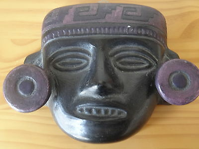 Ancient Antique Pre Columbian Aztec Mayan Terra Cotta Clay Pottery Hanging Mask