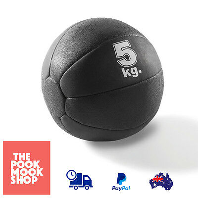 Rubber Medicine Ball Black 5kg, AB Workout Fitness Weighted Yoga HOME Exercise
