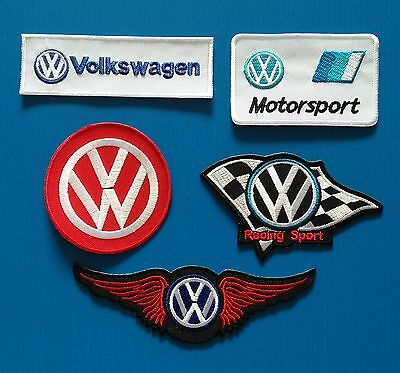 5 LOT VOLKSWAGEN 3 to 6 Inches Embrodered Iron Or Sewn On VW Patches Free Ship