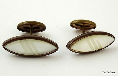 Vintage 1920s Cufflinks Small Oval MOP Mother of Pearl Cuff Links Mens or Womens