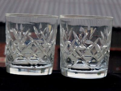 Crystal Cut Glass Whiskey Tumblers Set Of 2 Whisky Spirit Drinking Glasses