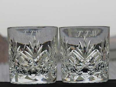 Cut Glass Lead Crystal Whiskey Set Of 2 Tumblers Whisky Glasses