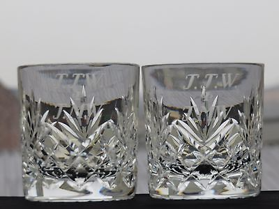 Lovely Cut Glass Lead Crystal Set Of 2 Tumblers