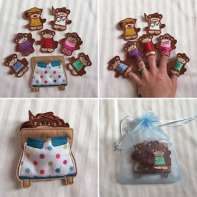 Five Little Monkeys Jumping On The Bed Finger Puppets Set - 8 Pcs - Quiet Play