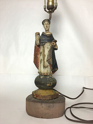 Pair of Carved, Polychromed 19th Century Spanish Colonial Santos, on Lamp Base