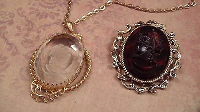 Two vintage Cameo Brooch/Pendants, Reverse Cameo, Faux Tortoise