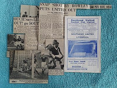 1958 - SOUTHEND UNITED v LIVERPOOL PROGRAMME - FA CUP 3RD ROUND REPLAY