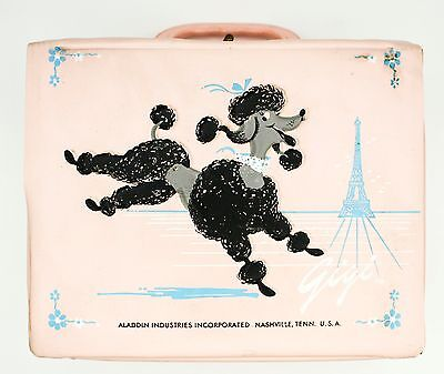 Rare HTF 1962 GiGi French Pink Poodle Aladdin Lunch Box Collectible