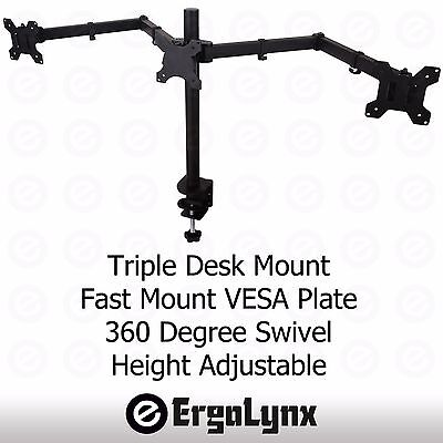 "Triple LCD Monitor Twin TV Arm Desk Mount Computer Screen Bracket Dual 2 13""-27"""