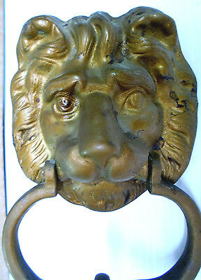 Mid Century Brass Lion Head Door Knocker