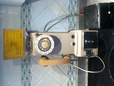 Vintage Western Electric NE - 233H Beige 3-Slot Rotary Dial Payphone with 3 Keys