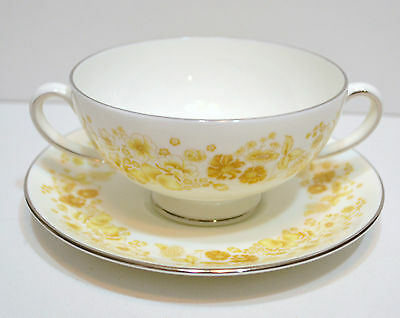 Wedgewood Two Handled Soup Cup And Saucer  Mimosa Pattern