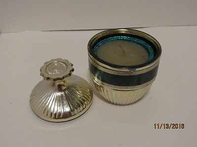 Estate VINTAGE AVON Gold Covered Glass w Green JAR w CANDLE HOLDER DISH 2 PIECE