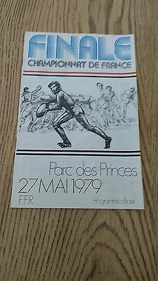 Narbonne v Stade Bagnerais 1979 French Championship Final Rugby Union Programme
