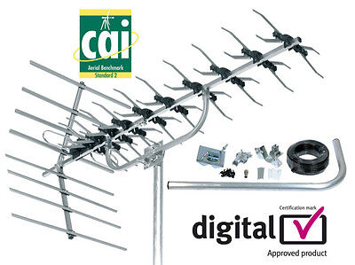 SLx 48 Element UHF Digital TV Aerial Kit for Outdoor or Loft fwith mount & cable