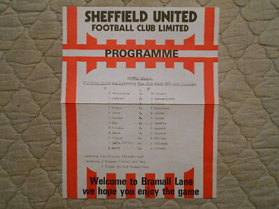Sheffield Utd Res V Coventry Res Central League Single Sheet Programme 1981