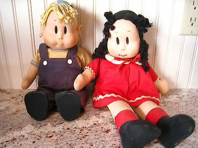 Vintage LITTLE LULU and ALVIN (RARE) Cloth Doll Pair Comic Characters
