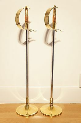 2 Novelty Sword Pokers With Stands, Brass and Copper Handles, Fireside, Hearth