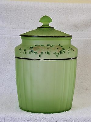 Large Vintage Frosted Green Glass Round Canister Cookie Jar with Glass Lid