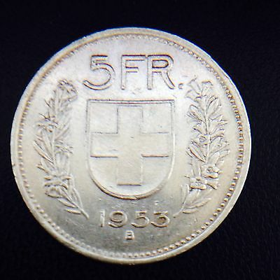 Switzerland 1953 5 Francs .835 Silver Coin 15 Grams Confoederatio Helvetica
