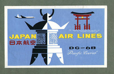 Airline luggage label Japan Air  pretty design  #728
