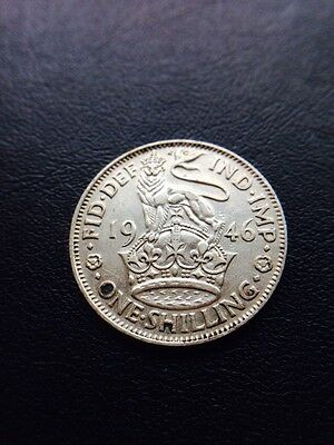 King George Vi English 1946 One Shilling Coin .500 Silver Great Britain Uk