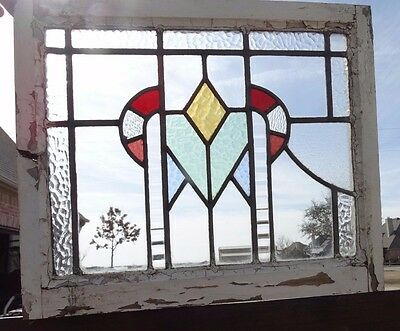 G203 Antique Stained Glass Window w Orig Frame Victorian Architectural 6 colors