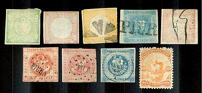 Peru--Nine Very Early Stamps