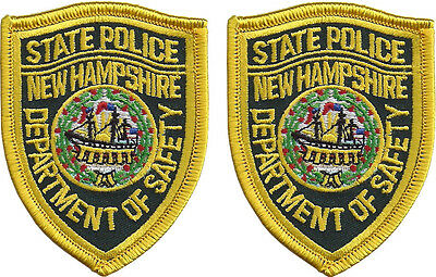 "Hat Size New Hampshire State Police Patches - Pair - 3""T by 2 1/4""W - NEW"