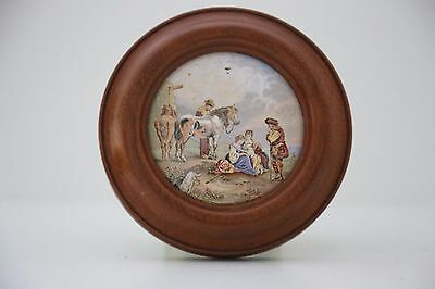 Antique Pratt ware porcelain lid - Ladies resting in landscape with horses scene