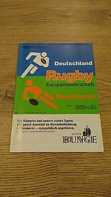 Germany v Holland 1992 Rugby Union Programme