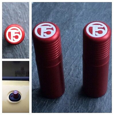 VW T5 Red Door Lock Pull Pins Set of 2 Precision Machined Laser Engraved Alloy