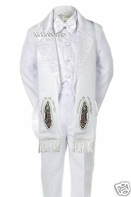 6PC BABY TODDLER BOY WEDDING FORMAL PAISLEY TAIL TUXEDO STOLE WHITE S-7 (0M-7yr)