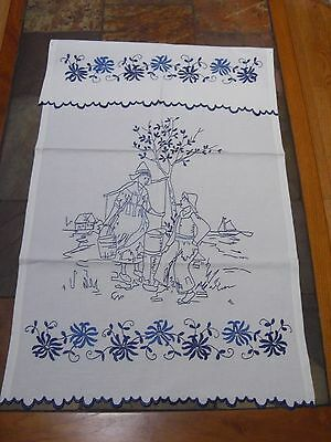 Cute Dutch Antique Cotton Towel Blue Work Embroidered    LT21