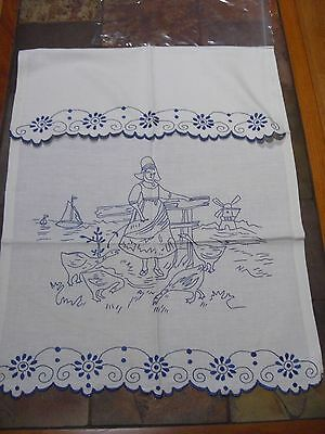 Cute Dutch Antique Cotton Towel Blue Work Embroidered    LT22