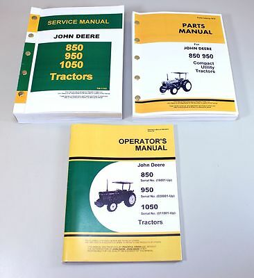 John Deere 850 950 Tractor Service Parts Operators Manual Catalog Shop Book