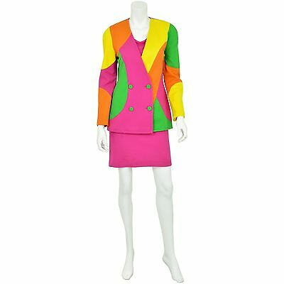 80's Vintage Women's S Ayako Designer Colorblock Sweater Knit Blazer Colorful