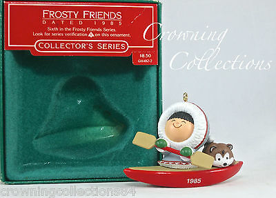 1985 Hallmark Frosty Friends Keepsake Ornament 6th Series Eskimo Husky Dog Kayak