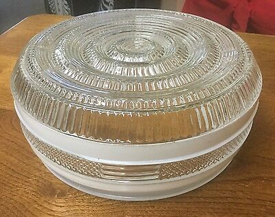 """Vintage Ceiling Light or Fixture Glass Lamp Shade Clear & White 9"""""""
